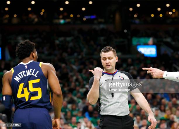 Referee Gediminas Petraitis gives Donovan Mitchell of the Utah Jazz a techinal foul during the third quarter of the game against the Boston Celtics...