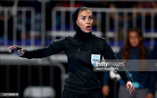 Referee Gelareh Nazemi of Iran gestures in the Women's Futsal Group C match between Trinidas Tobago and Bolivia during the Buenos Aires Youth...