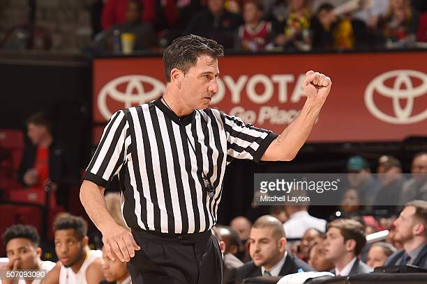 Referee Gene Steratore calls a foul during a college basketball game between the Maryland Terrapins and the Northwestern Wildcats at the Xfinity...