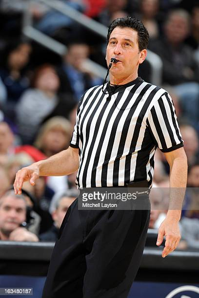 Referee Gene Steratore looks on during a college basketball game betwen the Georgetown Hoyas and the Rutgers Scarlet Knights on March 2, 2013 at the...