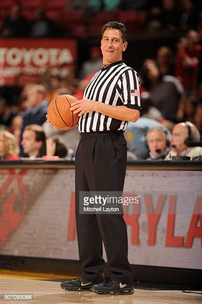 Referee Gene Steratore looks on during a college basketball game between the Maryland Terrapins and the Northwestern Wildcats at the Xfinity Center...