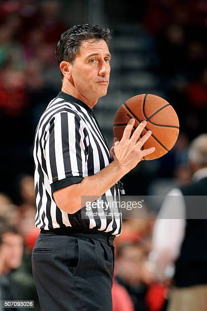 Referee Gene Steratore looks onl during a college basketball game between the Maryland Terrapins and the Northwestern Wildcats at the Xfinity Center...