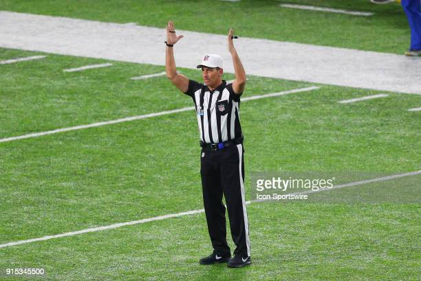 Referee Gene Steratore signals touchdown after a Microsoft Surface replay during Super Bowl LII on February 4 at U.S. Bank Stadium in Minneapolis, MN.
