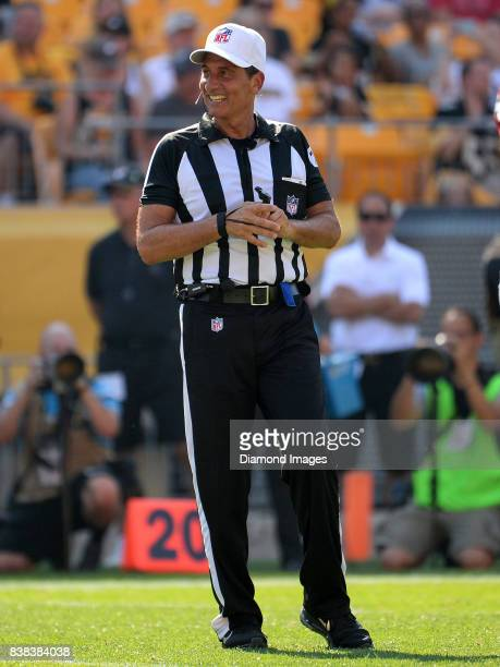 Referee Gene Steratore stands on the field in the second quarter of a game on August 20, 2017 between the Atlanta Falcons and Pittsburgh Steelers at...