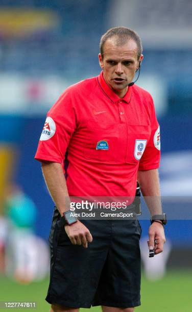 Referee Geoff Eltringham during the Sky Bet Championship match between Leeds United and Charlton Athletic at Elland Road on July 22 2020 in Leeds...
