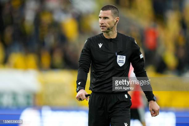 Referee Georgl Kabakov during the UEFA Conference League match between IF Elfsborg and Feyenoord at Boras Arena on August 26, 2021 in Boras, Sweden