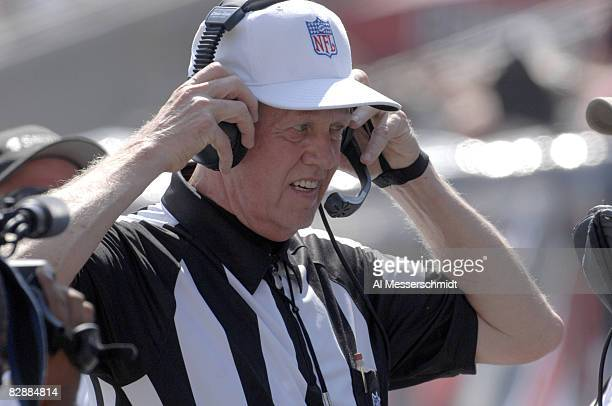 NFL referee Gerald Austin checks the replay screen as the Tampa Bay Buccaneers host the Philadelphia Eagles Oct 22 2006 in Tampa The Bucs won 23 21...