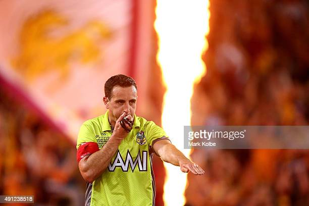 Referee Gerard Sutton awards a Broncos try during the 2015 NRL Grand Final match between the Brisbane Broncos and the North Queensland Cowboys at ANZ...