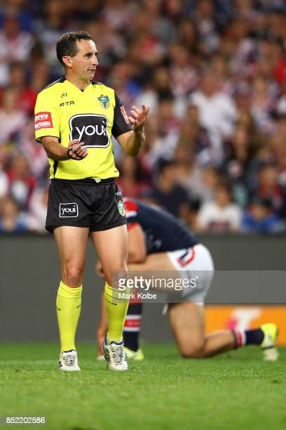 Referee Gerard Sutton gestured to players during the NRL Preliminary Final match between the Sydney Roosters and the North Queensland Cowboys at...