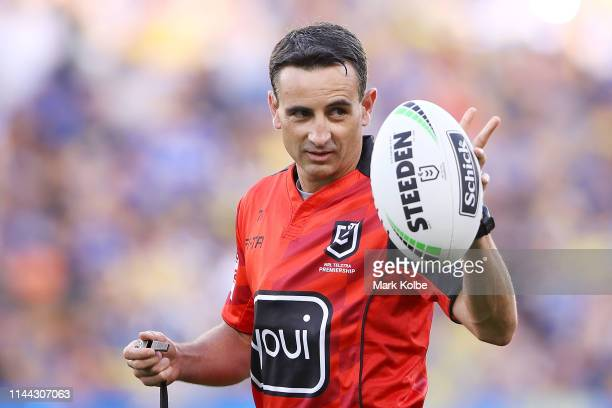 Referee Gerard Sutton gestures during the round 6 NRL match between the Parramatta Eels and Wests Tigers at Bankwest Stadium on April 22, 2019 in...