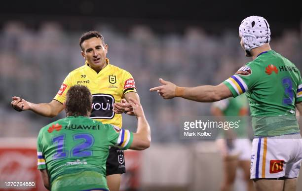 Referee Gerard Sutton has words with Elliot Whitehead of the Raiders during the round 17 NRL match between the Canberra Raiders and the Sydney...
