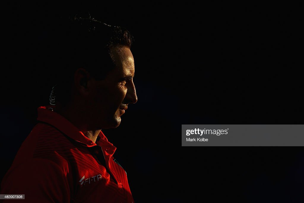 Referee Gerard Sutton looks on during the round 20 NRL match between the Canterbury Bulldogs and the Cronulla Sharks at Belmore Sports Ground on July 26, 2015 in Sydney, Australia.