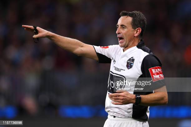 Referee Gerard Sutton reacts during game two of the 2019 State of Origin series between the New South Wales Blues and the Queensland Maroons at Optus...
