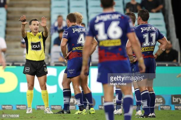 Referee Gerard Sutton sends Brenko Lee of the Bulldogs to the sin bin during the round eight NRL match between the Wests Tigers and the Canterbury...