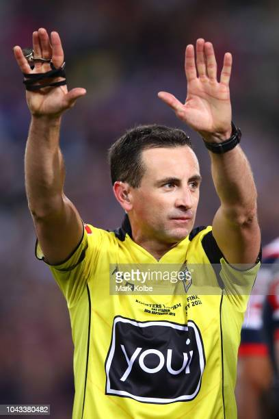 Referee Gerard Sutton sends Cameron Munster of the Storm to the sin-bin during the 2018 NRL Grand Final match between the Melbourne Storm and the...