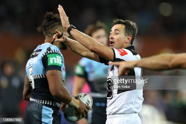 Referee Gerard Sutton signals 10 minutes in the sin bin for Felise Kaufusi of the Maroons during game one of the 2020 State of Origin series between...