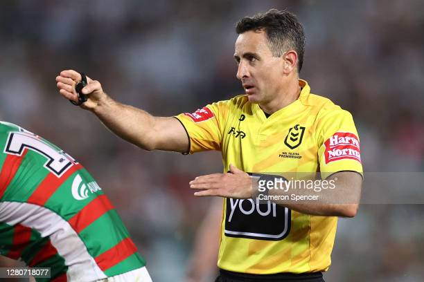 Referee Gerard Sutton signals during the NRL Preliminary Final match between the Penrith Panthers and the South Sydney Rabbitohs at ANZ Stadium on...