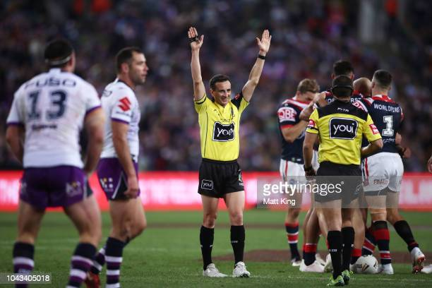 Referee Gerard Sutton signals time off during the 2018 NRL Grand Final match between the Melbourne Storm and the Sydney Roosters at ANZ Stadium on...