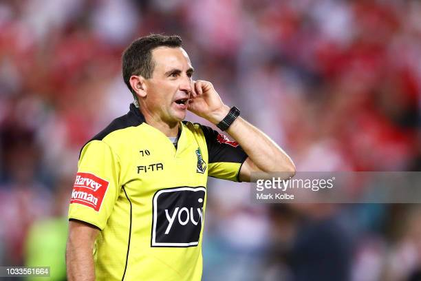 Referee Gerard Sutton speak to the video review during the NRL Semi Final match between the South Sydney Rabbitohs and the St George Illawarra...