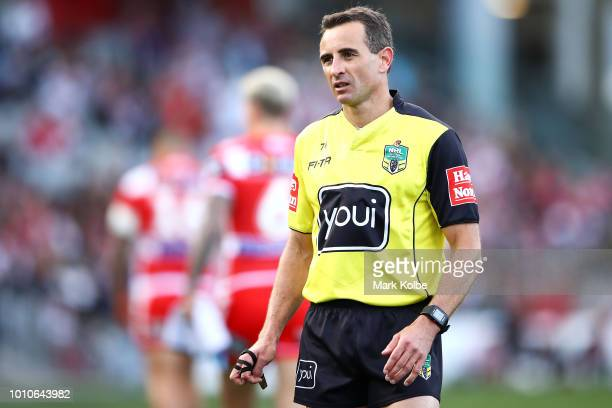 Referee Gerard Sutton watches on during the round 21 NRL match between the St George Illawarra Dragons and the New Zealand Warriors at WIN Stadium on...