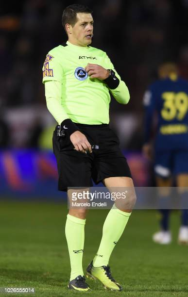 Referee German Delfino looks on during a match between Huracan and Boca Juniors as part of Superliga Argentina 2018/19 at Estadio Tomas Adolfo Duco...