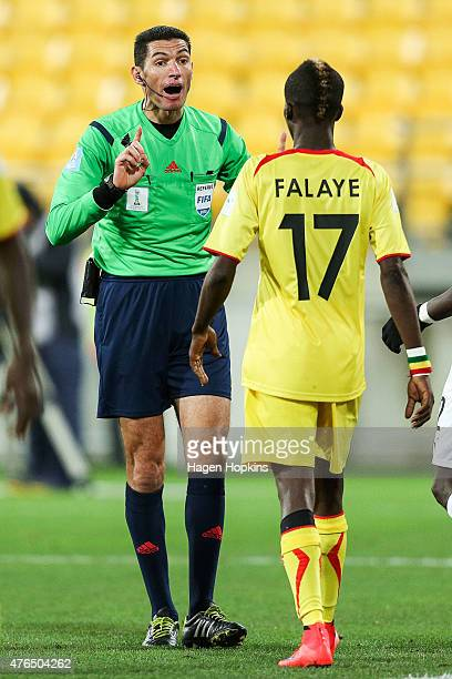 Referee Ghead Grisha of Egypt speaks to Falaye Sacko of Mali during the FIFA U20 World Cup New Zealand 2015 Round of 16 match between Ghana and Mali...