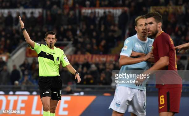 Referee Gianluca Rocchi during the Serie A match between AS Roma and SS Lazio at Stadio Olimpico on November 18 2017 in Rome Italy