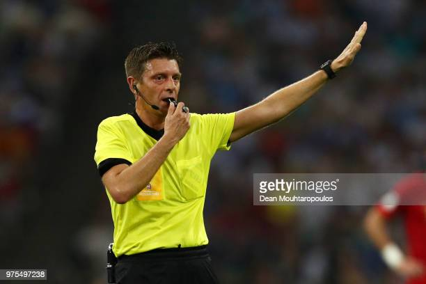 Referee Gianluca Rocchi gestures during the 2018 FIFA World Cup Russia group B match between Portugal and Spain at Fisht Stadium on June 15 2018 in...