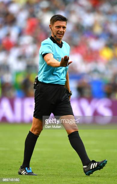 Referee Gianluca Rocchi gestures during the 2018 FIFA World Cup Russia Round of 16 match between Brazil and Mexico at Samara Arena on July 2 2018 in...