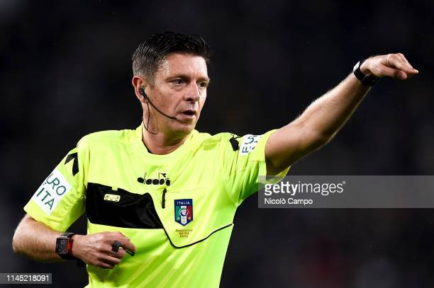 Referee Gianluca Rocchi gestures during the Serie A football match between Juventus FC and Atalanta BC The match ended in a 11 tie