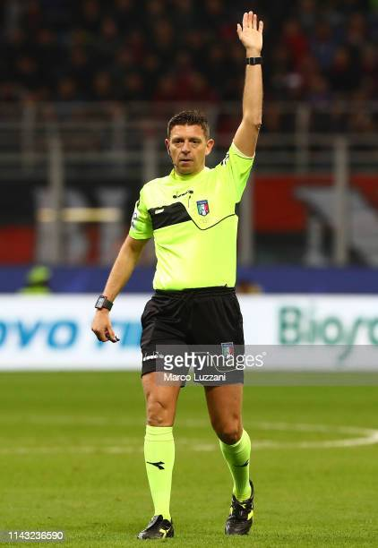 Referee Gianluca Rocchi gestures during the Serie A match between AC Milan and SS Lazio at Stadio Giuseppe Meazza on April 13 2019 in Milan Italy
