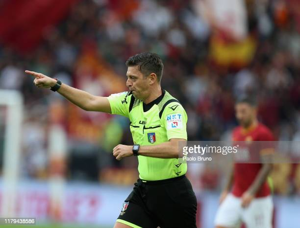 Referee Gianluca Rocchi gestures during the Serie A match between AS Roma and SSC Napoli at Stadio Olimpico on November 2, 2019 in Rome, Italy.