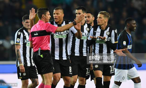 Referee Gianluca Rocchi gestures during the Serie A match between Udinese and FC Internazionale at Stadio Friuli on May 4, 2019 in Udine, Italy.