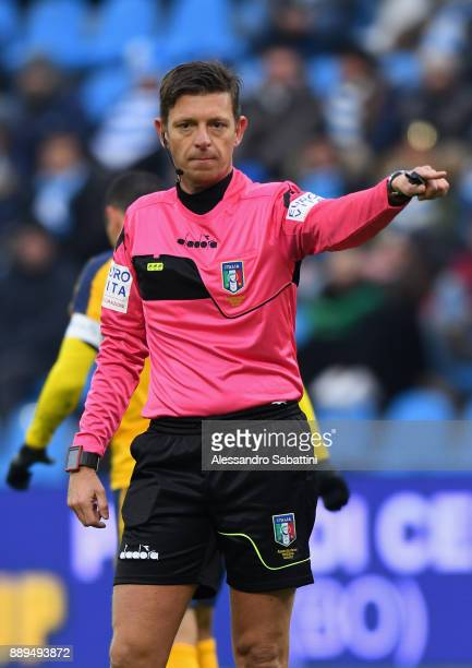 referee Gianluca Rocchi gestures during the Serie A match between Spal and Hellas Verona FC at Stadio Paolo Mazza on December 10 2017 in Ferrara Italy