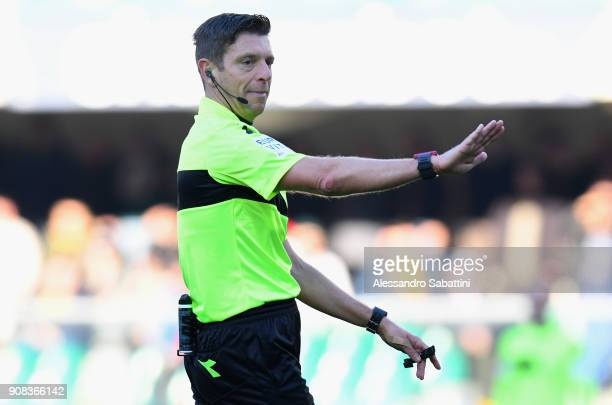 referee Gianluca Rocchi gestures during the serie A match between Hellas Verona FC and FC Crotone at Stadio Marc'Antonio Bentegodi on January 21 2018...