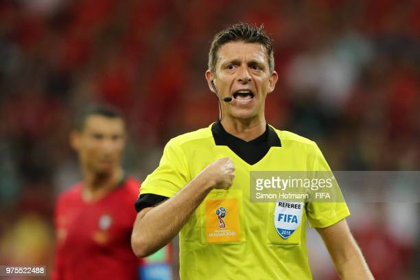 Referee Gianluca Rocchi gives instructions during the 2018 FIFA World Cup Russia group B match between Portugal and Spain at Fisht Stadium on June 15...