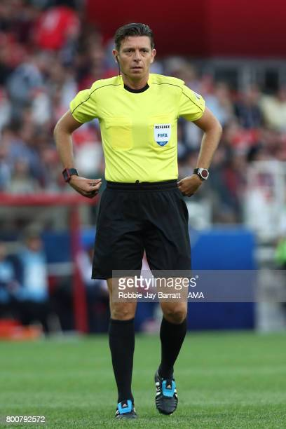Referee Gianluca Rocchi looks on during the FIFA Confederations Cup Russia 2017 Group B match between Chile and Australia at Spartak Stadium on June...