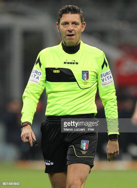 Referee Gianluca Rocchi looks on during the serie A match between FC Internazionale and SS Lazio at Stadio Giuseppe Meazza on December 30 2017 in...