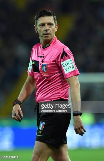 Referee Gianluca Rocchi looks on during the Serie A match between Udinese and FC Internazionale at Stadio Friuli on May 4 2019 in Udine Italy