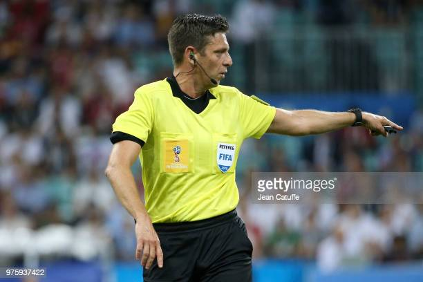 Referee Gianluca Rocchi of Italy during the 2018 FIFA World Cup Russia group B match between Portugal and Spain at Fisht Stadium on June 15 2018 in...