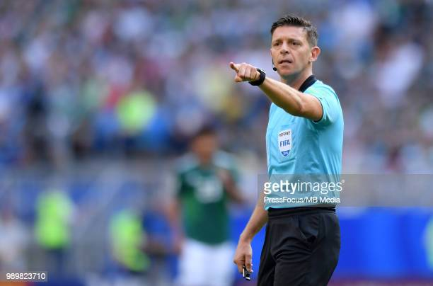 Referee Gianluca Rocchi reacts during the 2018 FIFA World Cup Russia Round of 16 match between Brazil and Mexico at Samara Arena on July 2 2018 in...