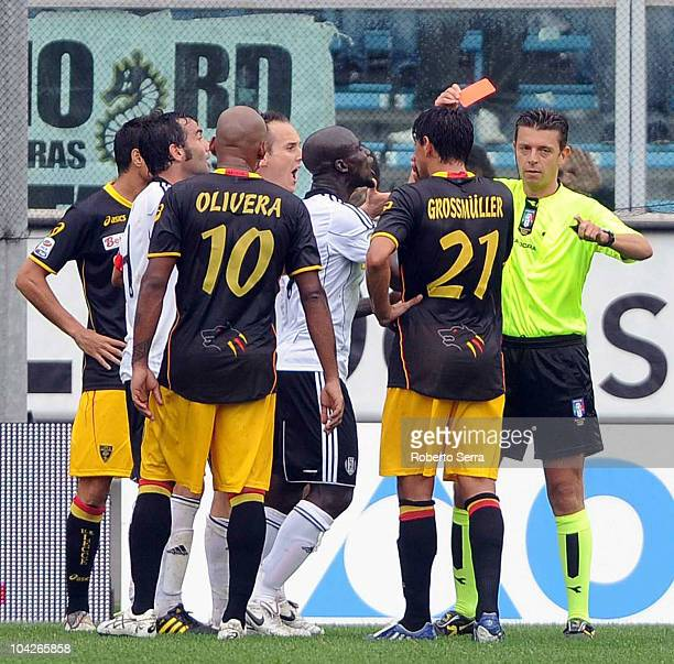 Referee Gianluca Rocchi sends off Giuseppe Colucci of Cesena during the Serie A match between AC Cesena and Lecce at Dino Manuzzi Stadium on...