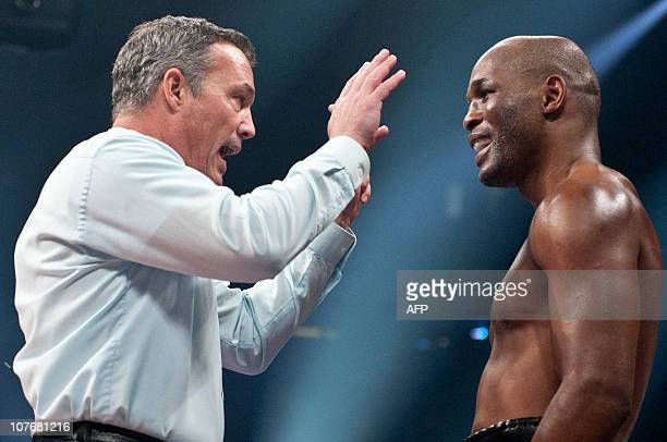 Referee giving a 10 countdown to Bernard Hopkins on the third round during the WBC Light Heavyweight World Championship at the Pepsi Coliseum in...
