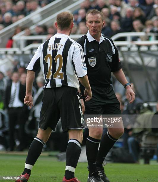 Referee Graham Poll has a word with Nicky Butt of Newcastle United during the Barclays Premiership match between Newcastle United and Manchester City...