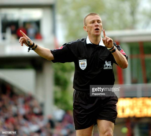 Referee Graham Poll in action during the Barclays Premiership match between Arsenal and Liverpool at Highbury in London on May 8 2005