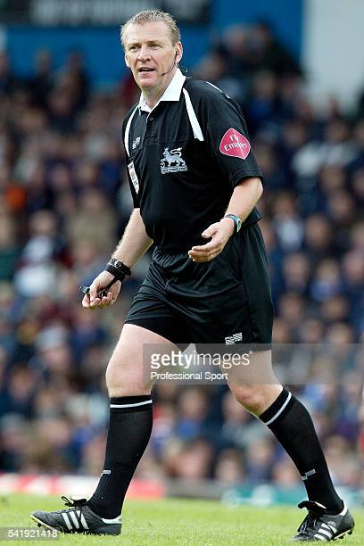 Referee Graham Poll in action on the occasion of his final match during the Barclays Premier League match between Portsmouth and Arsenal at Fratton...