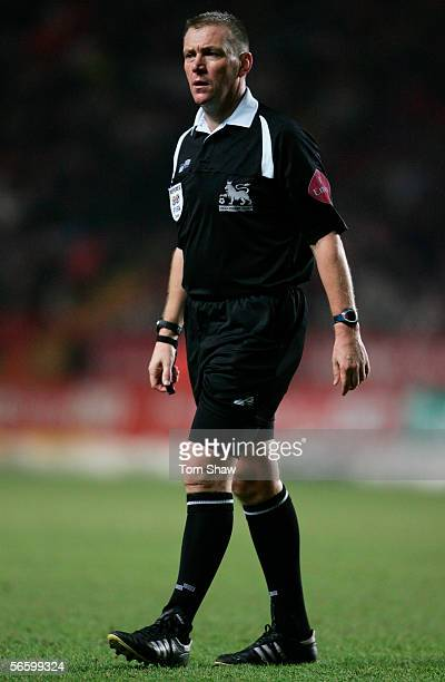 Referee Graham Poll looks on during the Barclays Premiership match between Charlton Athletic and Birmingham City at The Valley on January 14 2006 in...