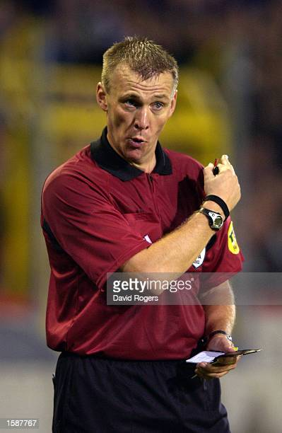 Referee Graham Poll of England in action during the UEFA Champions League First Phase Group H match between Club Brugge and Barcelona on October 29...