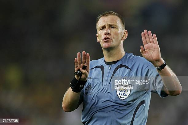 Referee Graham Poll of England makes a decision during the FIFA World Cup Germany 2006 Group F match between Croatia and Australia at the...