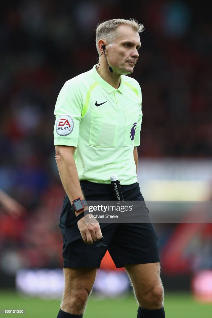 Referee Graham Scott during the Premier League match between AFC Bournemouth and Leicester City at Vitality Stadium on September 30, 2017 in Bournemouth, England.